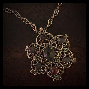 Vintage vibe statement jeweled necklace
